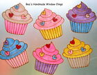 BEA'S SHABBY CHIC RETRO CUP CAKE WINDOW CLINGS MIRROR TILE STICKER DECALS