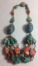 Antique Chinese Turquoise Enamel Cloisonne & Coral Copper Necklace~17 1/4""
