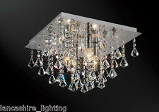 * SALE * Flush Ceiling Light In Chrome With Stunning Crystal Ball Droplets 4x60W