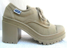VTG 90'S..LA HALLE..CHUNKY HEEL..PLATFORM..CANVAS..SNEAKERS/ BOOTIES..NEW..10