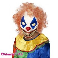 Evil Grinning Clown Mask With Hair Halloween Horror Scary Costume Accessories