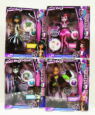 "MONSTER HIGH ""GHOULS RULE"" Set 4 Frankie_Clawdeen_Draculaura_Cleo_NRFB"