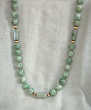 Fine Central American Jadeite Jade Bead Necklace with 14K