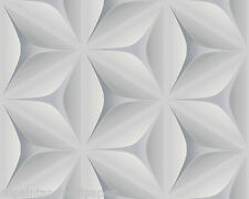 Feature Wallpaper 3D Flower Geometric Funky Modern Grey White Retro Geometric