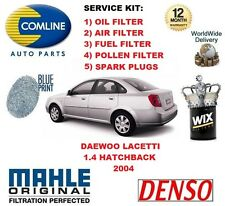 DAEWOO LACETTI 1.4 16v 2004 OIL AIR FUEL POLLEN FILTER + SPARK PLUGS SERVICE KIT
