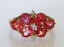 Beautiful 9ct Gold Tanzanian Ruby & Diamond Cluster Ring Size N 1/2