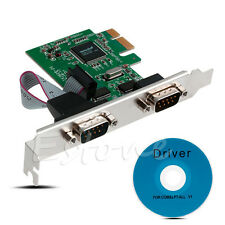 PCI-E PCI to Dual Serial DB9 RS232 Serial Controller Adapter Card Express 2-Port