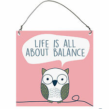 Life Is All About Balance Funny Cute Owl Inspirational Metal Sign Retro Plaque