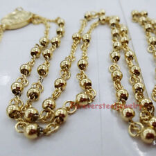 4MM Round Beads 18K Gold Jesus Cross Rosary Link Chain Necklace Stainless Steel