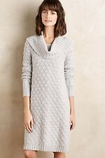 NWT $158 Anthropologie Cowled Sweater Dress Cardigan LARGE Pale Grey By Sparrow