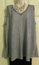 NEW Stunning Silver Shimmer Super Stretch Tunic Top Lane Bryant Plus 18/20 1X/2X