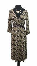 WHITE STUFF Dress Size 12 Brown Floral L45in Summer Casual Boho Holiday Everyday