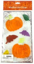 Window Gel Cling - Thanksgiving Fall Holiday Pumpkins & Leaves 6 piece New