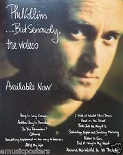 """PHIL COLLINS """"BUT SERIOUSLY - THE VIDEOS"""" U.K. PROMO POSTER - Genesis, 80's Icon"""