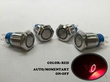 4 of MARINE BOAT SS304 RED LED FLUSH LIGHT AUTO ON-OFF PUSH SWITCH RING BUTTON