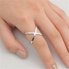 USA Seller Criss Cross Ring Sterling Silver 925 Plain Best Deal Jewelry Size 10