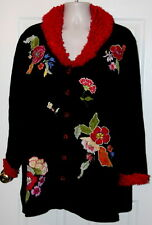 STORYBOOK KNITS CARDIGAN Sweater PLUS size 3X 4X black FLORAL yellow green