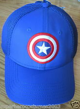 Avengers Age of Ultron Captain America Stretch Fit Shield Hat Brand New - Blue