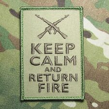 KEEP CALM AND RETURN FIRE 2ND AMENDMENT TACTICAL US MULTICAM VELCRO MORALE PATCH