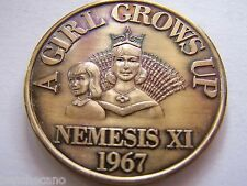 1967 Nemesis A GIRL GROWS UP Antique Bronze Mardi Gras Doubloon-1st Year Issue