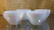 4 Vintage Iridescent Pearl Luster Heat Proof Fire-King Coffee Tea Cups