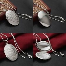 Fashion Jewelry Round Locket Flower Pendant Necklace Snake Chain Silver Plated