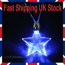 LED Blue Magnetic Light Charm Pendant Star Necklace Novelty Gift Disco UK