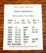 1986 Avalon Hill DAVE WINFIELD Card Statis Pro Baseball board game