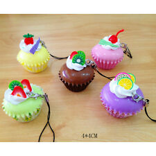 4cm Fruit Cake Squishy Charms Soft Buns Cell Phone Key Chain Bread Straps NM3