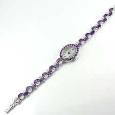 Sterling Silver 925 Genuine Natural Amethyst & Lab Diamond Watch 7.5 Inches
