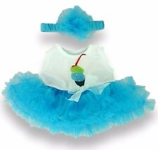 Teddy Bear Clothes fit Build a Bear Tutu Dress Ice Cream Design & Turquoise Bow