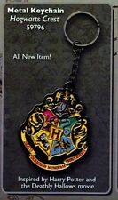 HARRY POTTER Deathly Hallows Fantasy Movie Hogwarts Crest METAL KEY RING CHAIN