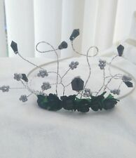 NEW  TIARA IN BLACK ROSES WITH CRYSTALS