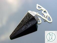 Black Tourmaline Gemstone Point Pendulum Dowsing Crystal Dowser Chakra Healing