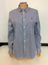 Polo Ralph Lauren Stripe Shirt Blouse Custom Fit Vgc Size Uk 14 navy Blue White