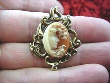 (CT4-18) MYSTIC HALF crescent MOON WOMAN Orange + ivory CAMEO Pin Pendant brooch