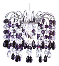 New Non Electrical 32 Piece Crystal Aspect Droplets Pendant Light Shade Plum
