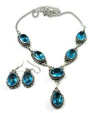 Dazzling! Faceted Blue Topaz Quartz 925 Silver Overlay Earring Necklace Set