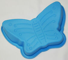 NEW CHILDRENS SILICONE CAKE BAKING TIN JELLY MOULD BUTTERFLY BLUE PMS
