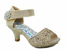 Girls JR Heels Sparkling Jewel Rhinestone Pageant Sunday Dress Shoes Sandals