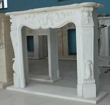 Hand Carved Marble Fireplace Mantel, Premium White- Elegant French Design #2680
