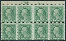 "#538 VF OG NH PL # & ""S30"" BLK/8 FROM SHEET/170 RARE FORMAT STAPLE HOLE BR7893"