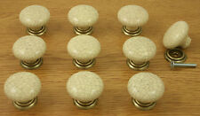 10 x Cream Crackle / Antique Brass Kitchen Cupboard Door Knobs 35mm diameter