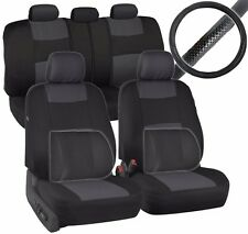 PolyCloth Car Seat Covers Steering Wheel Cover Black/Gray w/ 2 Lumbar Cushions