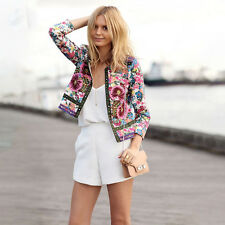 Lady Vintage Slim Tops Ethnic Floral Print Embroidered Short Jacket Coat Blazer