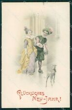 Happy New Year Greetings Greyhound dog postcard cartolina QT6173