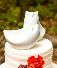 Porcelain Owl Pair Figurines Wedding Cake Topper Favor Gift Party Reception