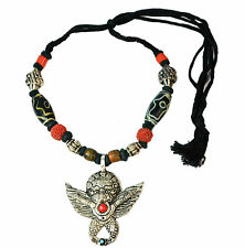 Mythical Creature / Demon Red / Black Stone Pendant/beads Necklace  (Zx219)