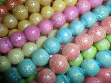 30x high quality 12mm subtle shimmer glass round beads, mixed color
