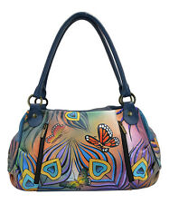 Anna by  Anuschka Flying Peacock   Hand - Painter Leather Satchel  Bag   NWT